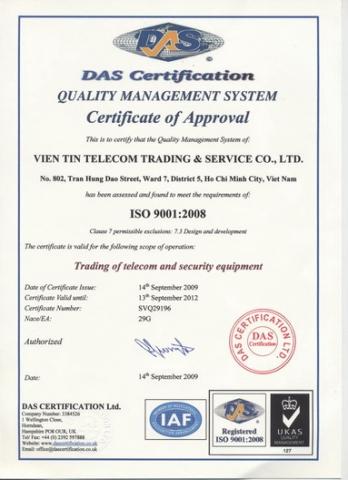 Chứng nhận ISO 9001:2008 do Tổ Chức UKAS, Vương Quốc Anh cấp